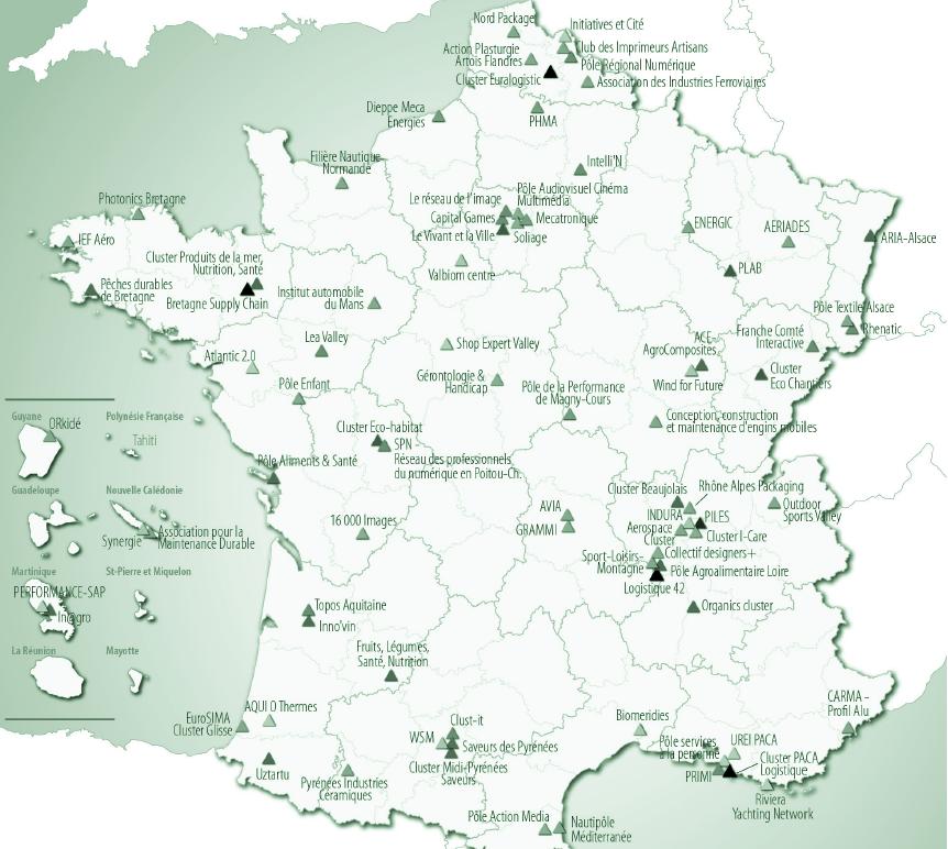 Les grappes d'entreprises sélectionnées à l'issue du second appel (2010)